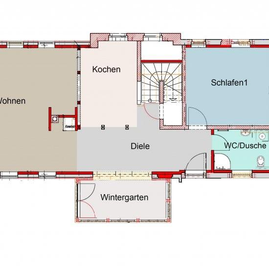Ferienhaus »Haus anno 1750« - Grundriss Erdgeschoss